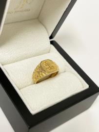 21 K Antiek Gouden Zegelring - Anker Gravure