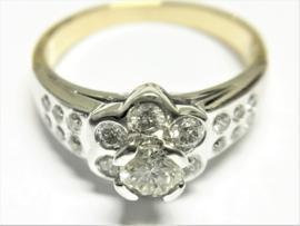 18 K Bicolor Gouden Rozet Ring 0.62 crt Briljantgeslepen Diamant