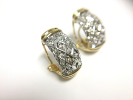14 K Bicolor Gouden Clip Oorbellen ca 0.25 crt Briljantgeslepen Diamant