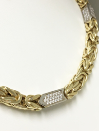 14 K Gouden Koningsketting Witgouden Blokken - 70 cm / 57 g