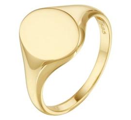 14 K Gouden Dames Zegelring Graveer Ring - Mt 17.25