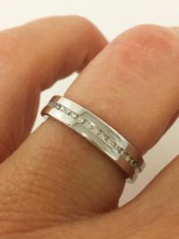 14 K Witgouden Band Rij Ring 0.23 crt Diamant VVS1