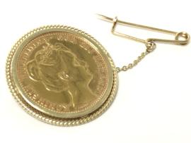Antiek Gouden Broche Tien Gulden Wilhelmina 1898 - Kroningstientje