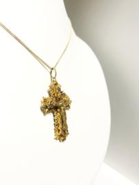 Antiek Gouden Kruis Corpus Met Gourmet Collier - 50 cm / 5,1 g / INRI