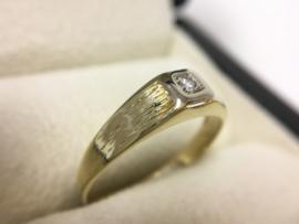 Antiek 14 K Bicolor Gouden Ring 0.03 Crt Briljantgeslepen Diamant