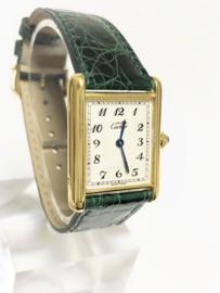Must de Cartier Tank Large Quartz 590005 Ivory Arabic Dial Smaragd Groenlederen Band