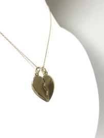 14 K Gouden Hanger Breek Hart / Gedeeld Hart - 2,5 cm