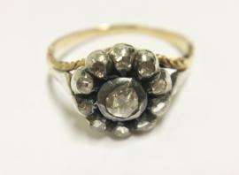 Antiek 14 K Gouden Rozet Ring ca 0.25 crt Roosgeslepen Diamant