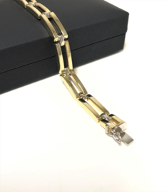 14 K Bicolor Gouden Schakel Armband - 19 cm / 14,2 g / 7,5 mm