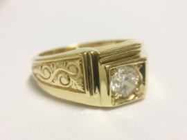 14 K Gouden Heren Ring (bewerkt) 0,50 crt Heldere Zirkonia