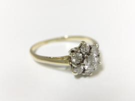 14 K Antiek Gouden Rozet Ring 0.45 crt Briljantgeslepen Diamant
