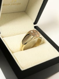 14 K Tricolor Gouden Heren Ring Briljantgeslepen Zirkonia
