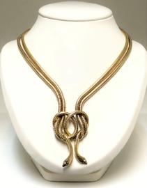 14 K Gouden Slangen Collier 0.24 Crt Briljant Geslepen Diamant - G / VVS1