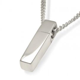 Zilver Vierkant Buisvormig Assieraad Inclusief Collier - 50 cm