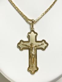 14 K Gouden Ketting Hanger Groot Kruis Jezus Figuur - 7,3 mm / 16,7 g