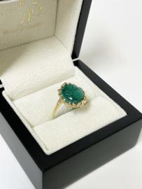 14 K Antiek Gouden Ring Gesneden Malachiet Bloemen