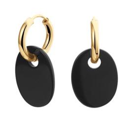 14 K Gouden Klap Oorringen Met Onyx Hangers