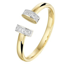 14 K Bicolor Gouden Fantasie Ring Briljantgeslepen Diamant