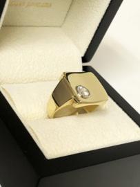 Handvervaardigd Gouden Zegelring 0.5 crt Diamant G/IF - 12,7 g