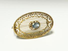 Antiek Handvervaardigd Gouden Filigrain Broche Aquamarijn - Jaren '20
