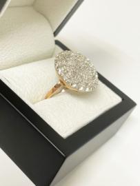 Royale Antiek Gouden Cocktail Ring 1,38 crt Diamant - Italië ca 1900