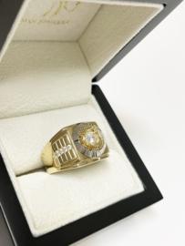 14 K Bicolor Gouden Heren Ring Briljant Geslepen Heldere Zirkonia - 9,7 g