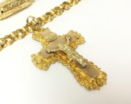 Antiek Gouden INRI Hanger Met Jezus Figuur