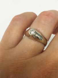 14 K Witgouden Heren Pink Ring 0.35 Heldere Facetgeslepen Zirkonia