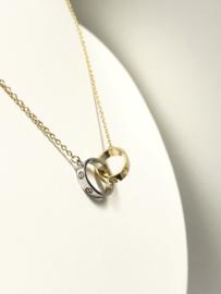 14 K Bicolor Gouden Anker Collier Symbol Chain Ringen Schroefmotief Cartier Stijl