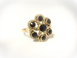Antiek 14 K Gouden Rozet Ring Facetgeslepen Granaat