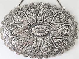 Antiek Zilveren Wandspiegel Ottomaans Turkije Eind 19e Eeuw