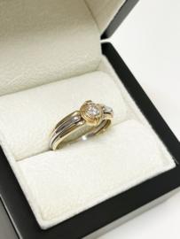 Le Chic 18 K Bicolor Gouden Solitair Ring 0.25 crt Briljant Geslepen Diamant Top Wesselton IF