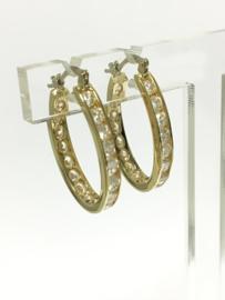 14 K Gouden Oorhangers (Ovaal) Briljantgeslepen Heldere Zirkonia