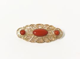 Handvervaardigd Antiek Gouden Broche Cabochon Geslepen Gelakt Bloedkoraal