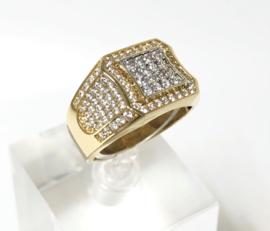 14 K Gouden Heren Ring Briljantgeslepen Heldere Zirkonia