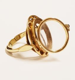 Antiek Handvervaardigd 14 K Gouden Medaillon Ring