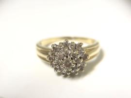 14 K Gouden Rozet Ring 0.45 crt Briljantgeslepen Diamant H / VS2