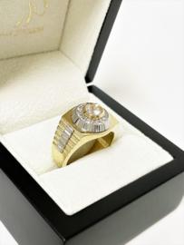 14 K Bicolor Gouden Rolex Ring Briljant Geslepen Heldere Zirkonia - 9,6 g