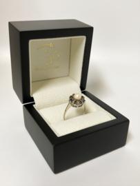 Antiek Witgouden Rozet Ring Parel / Saffier