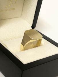 14 K Massief Gematteerd Gouden Heren Zegelring 8-Kant - 11,6 g