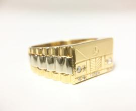 18 K Gouden Rolex Mercedes Ring 0.08 Diamant - 10,03 g