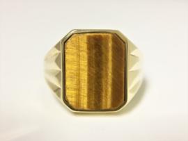 14 K Gouden Zegelring Tijgeroog (8-Kant)