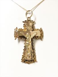 Antiek Gouden Hanger Kruis Met Jezus Figuur - 4,5 cm