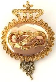 Antiek 14 K Gouden Mutsenbel Broche - ca 1900