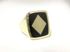 14 K Gouden Heren Zegelring Onyx / Ruiten - 7,15 g