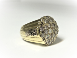 Grove 14 K Gouden Heren Ring ca 1,5 crt Diamant - 25,51 g