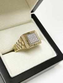 14 K Bicolor Gouden Heren Rolex Ring Briljant Geslepen Zirkonia - 8 g