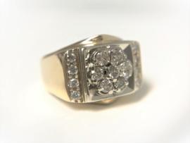 14 K Brede Heren Ring 0.85 crt Briljantgeslepen Diamant G/H-SI