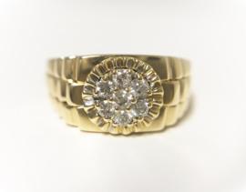 18 K Gouden Heren Rolex Ring 0.38 crt Briljantgeslepen Diamant
