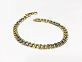 14 K Bicolor Gouden Gourmet Schakel Armband - 19 cm